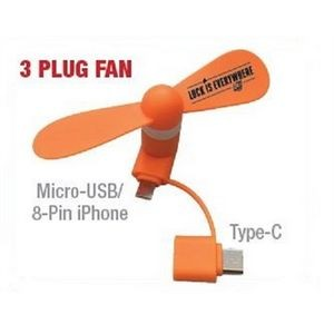 UL Tested - 3-IN-1 Portable Cell Phone Fan (for iPhones, Androids & Type C)