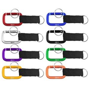 Square Shaped Carabiner with Strap and Key Ring
